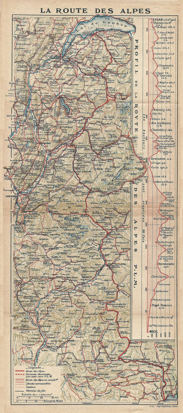 The itinerary of the Route Des Grandes Alpes